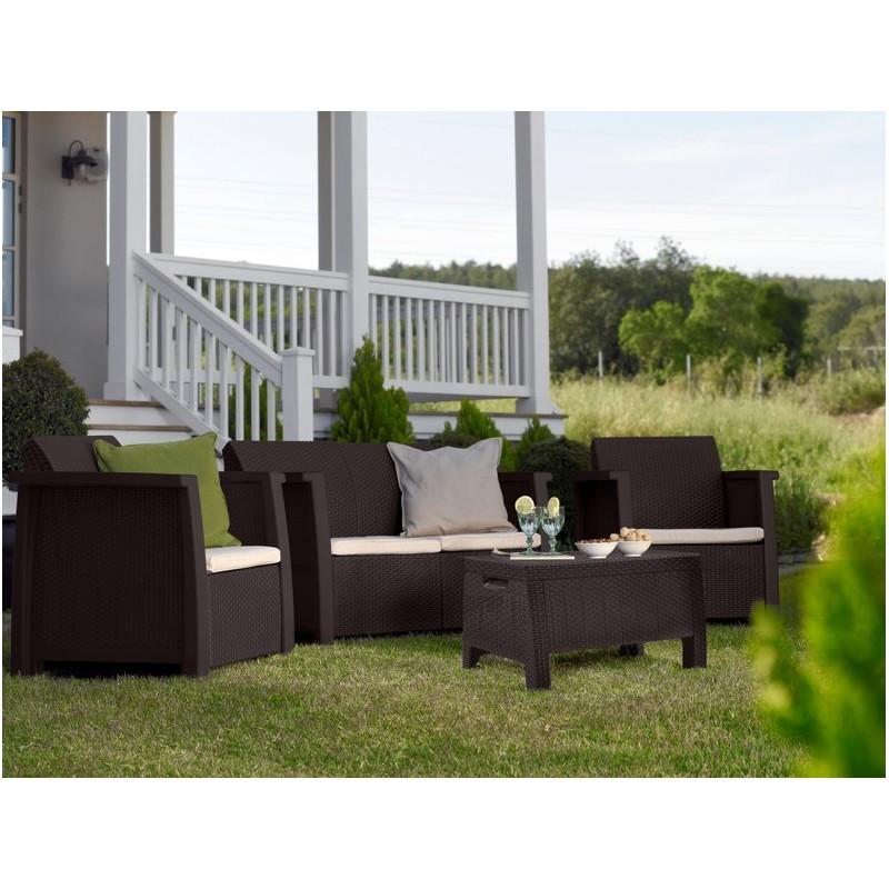Salotto da giardino in resina marrone con cuscini crema - Cuscini da giardino ...