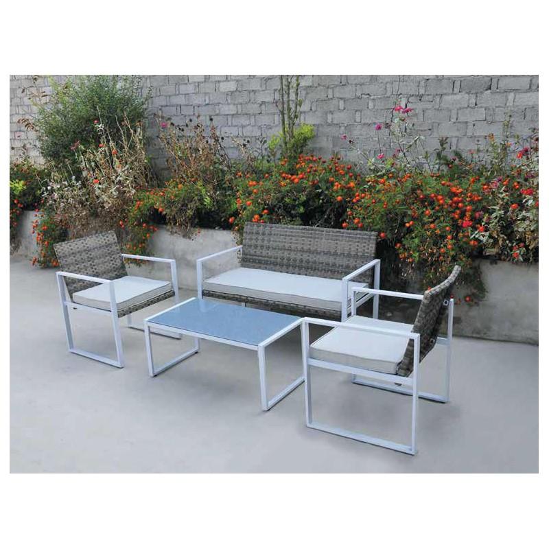 Salotto salottino giardino esterno in polirattan e acciaio for Salottini esterno