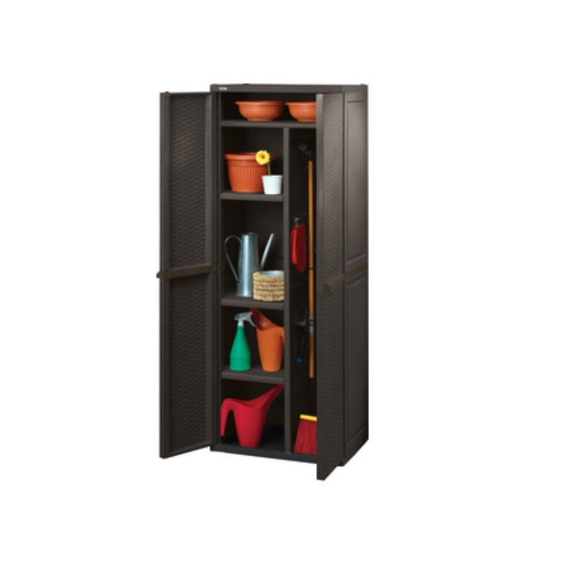 Armadi In Plastica Brico.Armadio In Resina Marrone Portascope Rattan 65 Cm Brico Casa