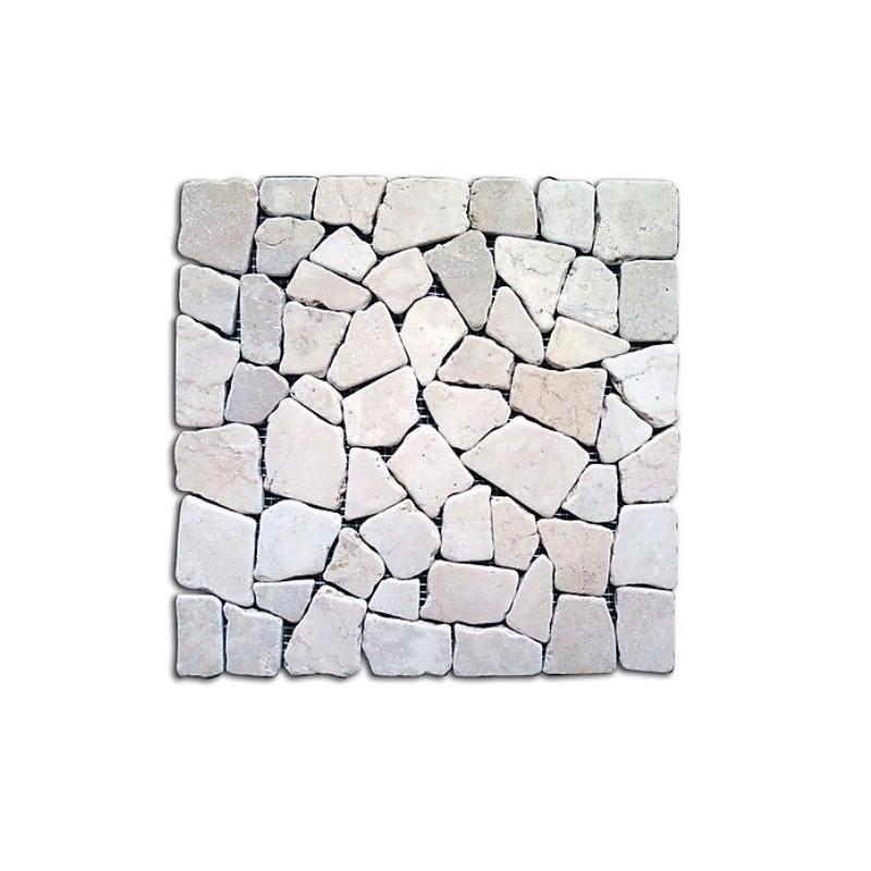 Piastrelle mosaico da esterni in pietra bianco 11 pz for Piastrelle da esterno rosa