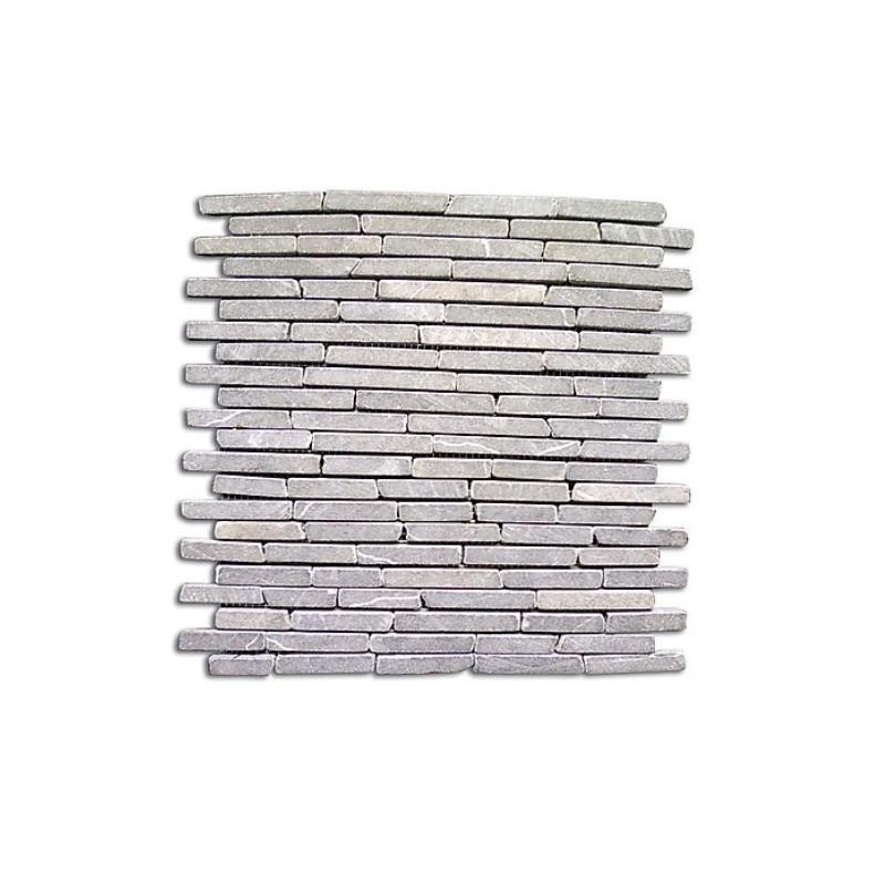 Piastrelle mosaico listelli da esterni in pietra grigio 11 pz brico casa - Piastrelle da parete pietra ...