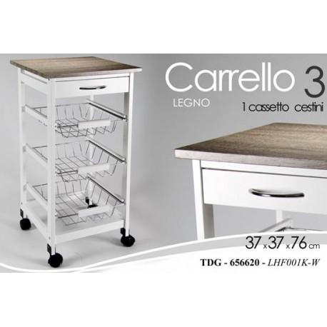 Mobiletto con cestini a carrello in legno bianco per - Carrello cucina legno bianco ...
