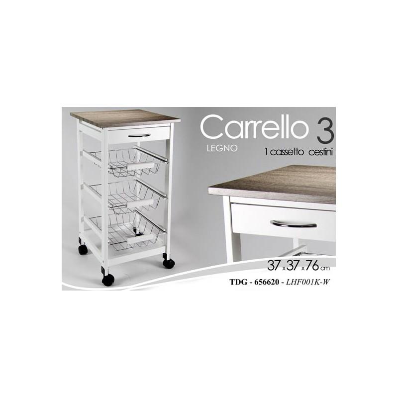 Mobiletto con cestini a carrello in legno bianco per cucina - Brico Casa