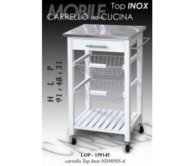MOBILE MOBILETTO CARRELLO DA CUCINA IN LEGNO TOP IN INOX