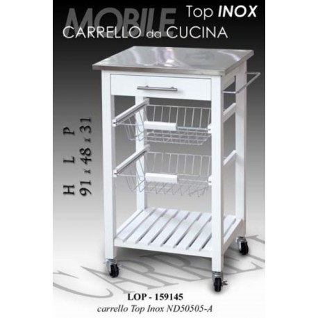 Mobiletto carrello piano acciaio inox bianco brico casa - Top cucina acciaio inox prezzo ...
