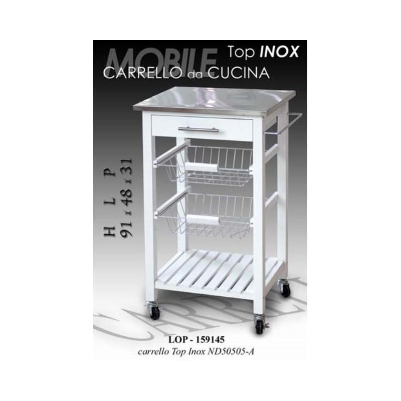 Mobiletto carrello piano acciaio inox bianco brico casa - Top per cucina in legno ...