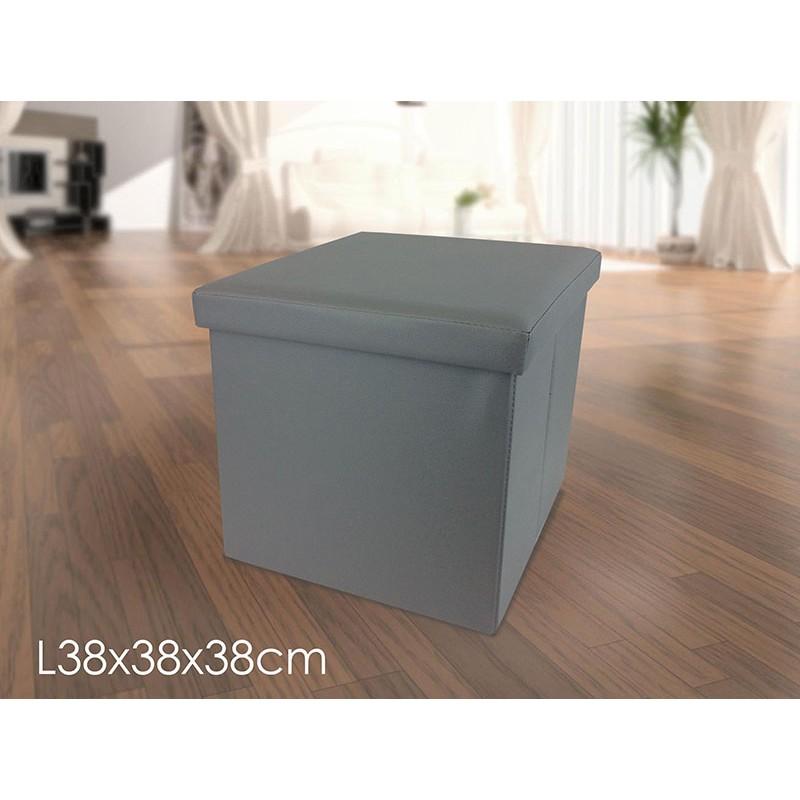 Pouf puf puff contenitore richiudibile ecopelle grigio for Puff arredo