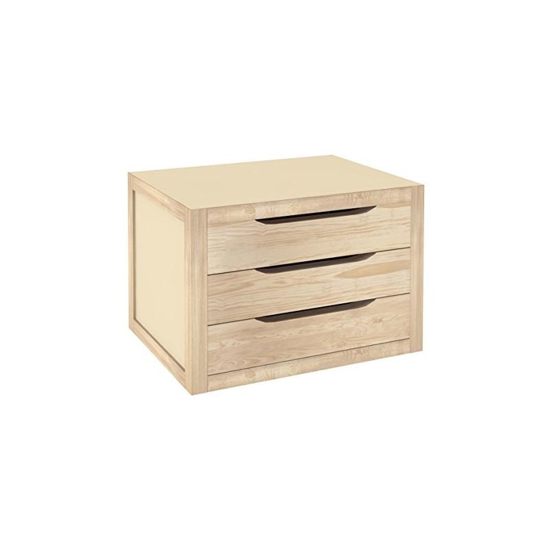 Cassettiera da tavolo legno naturale 40 cm con 3 cassetti for Tavolo legno naturale