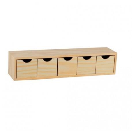 Cassettiera a cubo in legno naturale grezzo 5 cassetti - Brico Casa
