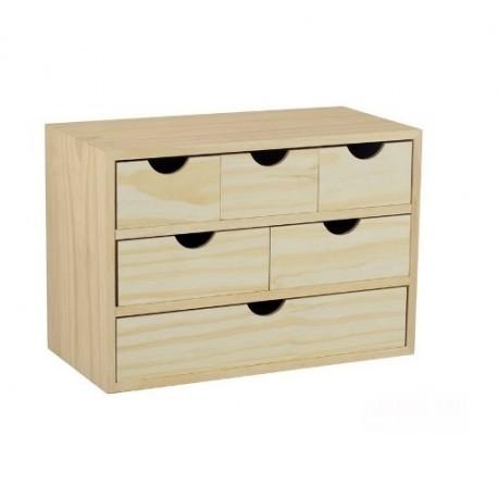 Cassettiera scrivania 6 cassetti legno naturale grezzo pino - Brico Casa