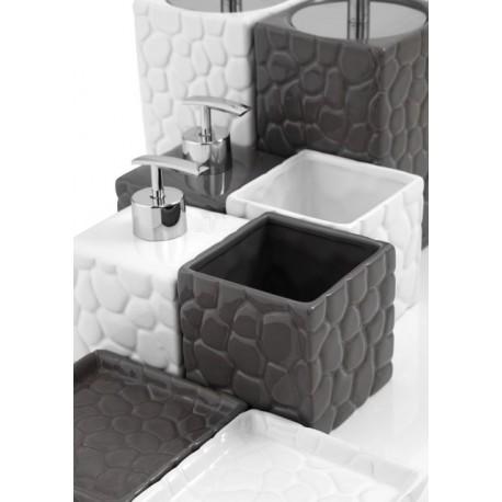Set bagno ceramica effetto pietra bianco grigio feridras sasso brico casa - Bagno effetto pietra ...