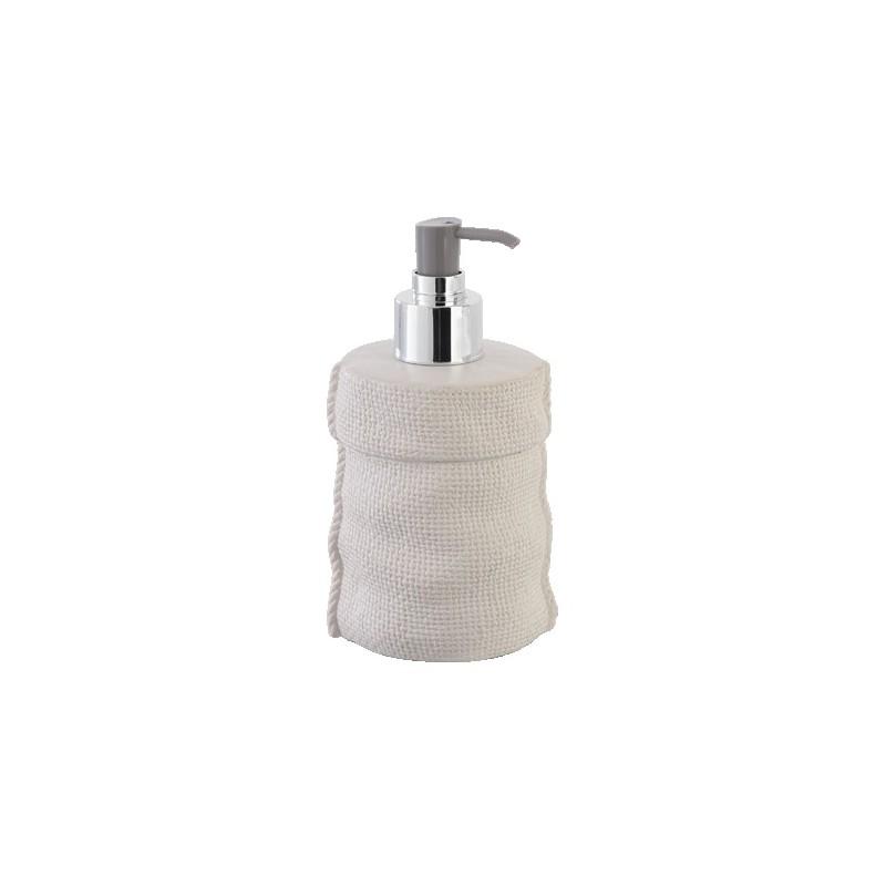 Set Accessori Bagno Ceramica Effetto Tessuto Morbido
