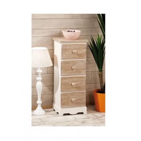 Mobile cassettiera in legno shabby tortora bianco - Brico Casa
