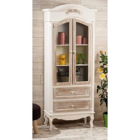 Mobile in legno con 2 cassetti con vetrina
