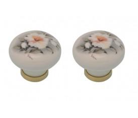 Pomelli in porcellana bianca con fiore vintage anticato