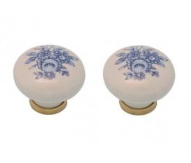 Pomelli vintage con fiori blu anticati in porcellana