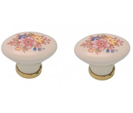 Pomelli in porcellana vintage con fiori rosa