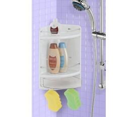 Mensola angoliera per box doccia con cassetto portaoggetti