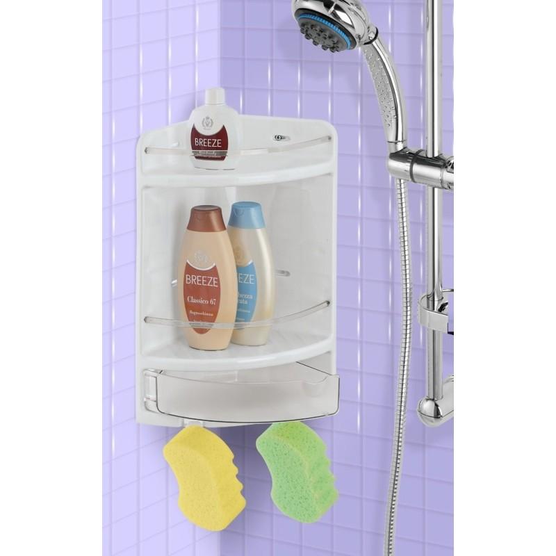 Mensola angoliera per box doccia con cassetto portaoggetti for Mensola con cassetto