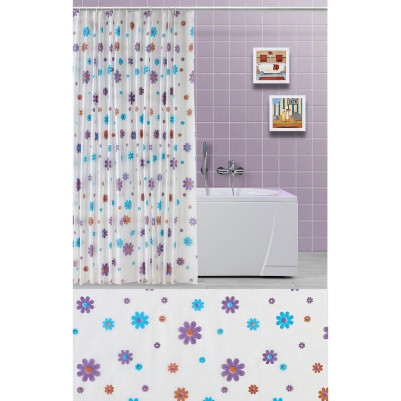 Flowers tenda doccia vasca da bagno con fiori viola e celeste brico casa - Tenda per vasca da bagno ...