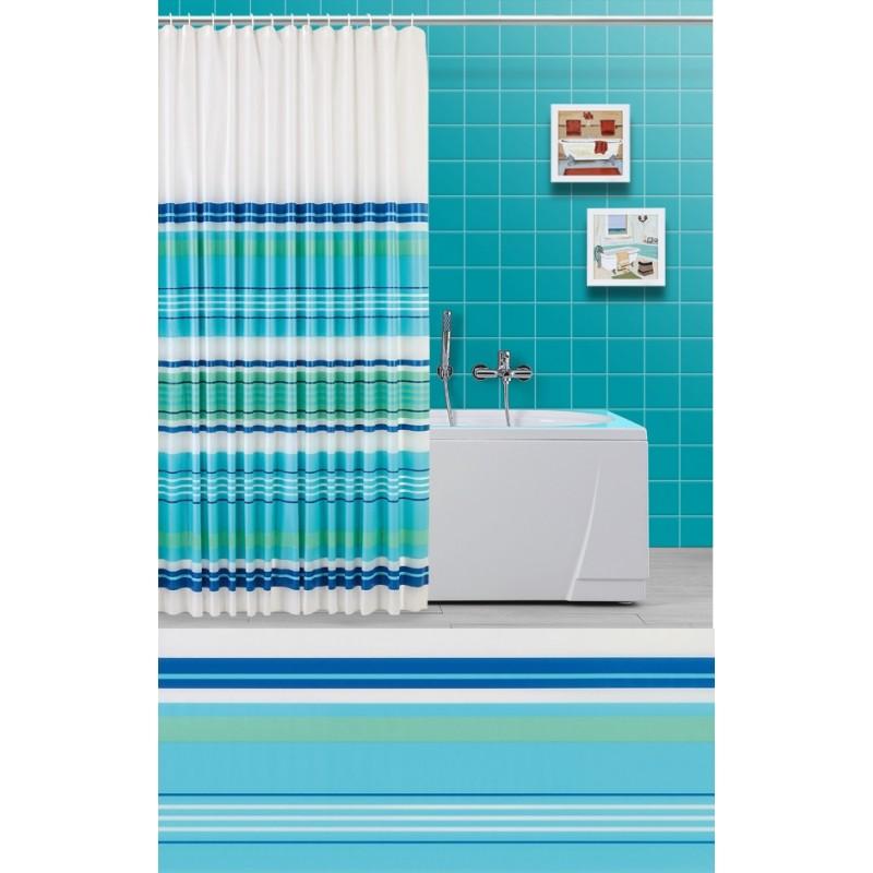 Tenda doccia e vasca da bagno righe orizzontali verde acqua brico casa - Tenda vasca da bagno ...