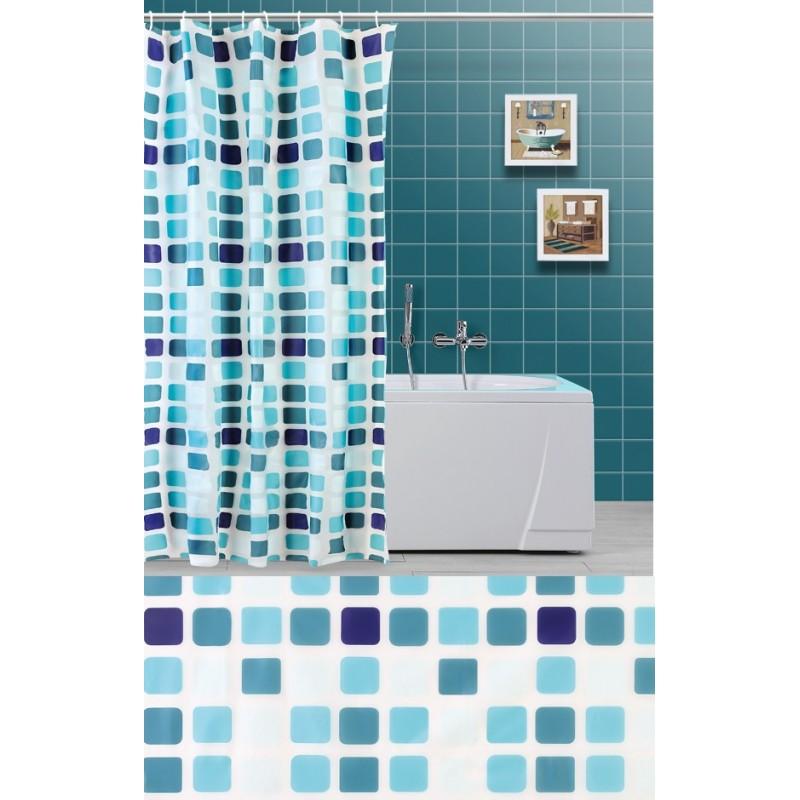 Tenda doccia a quadri verde acqua e celeste e per vasca da bagno brico casa - Tenda per vasca da bagno ...