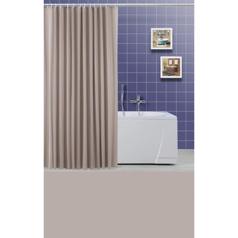 Tenda con anelli in plastica vinile tortora per vasca da bagno e doccia brico casa - Tenda per vasca da bagno ...