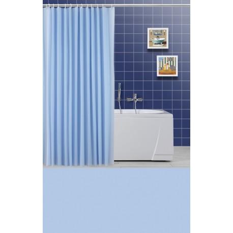Tenda doccia e vasca da bagno blu in vinile con anelli - Tenda vasca da bagno ...