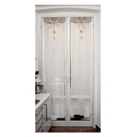 Tende Per Bagno Shabby.Tende Bianco Shabby 60x150 Con Fiocco E Cuore Cucina Bagno Brico Casa