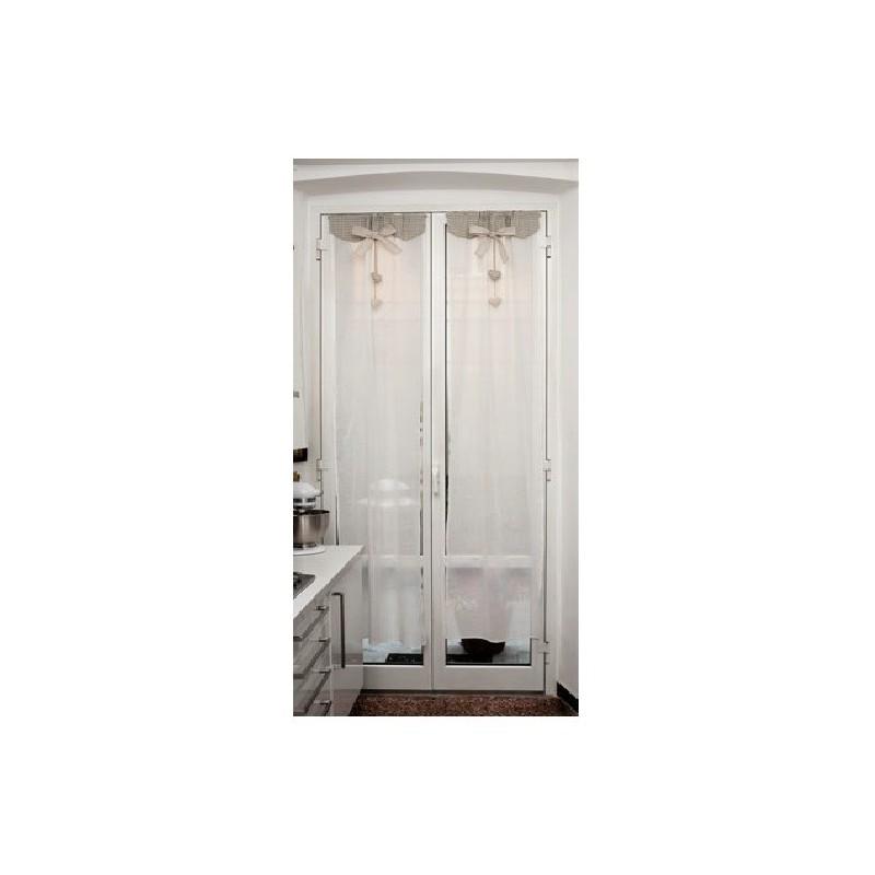 Tende bianco shabby 60x150 con fiocco e cuore cucina bagno - Tende bagno shabby ...