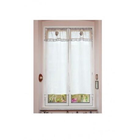 Tendine finestra 45x150 bianche country shabby merletto cuori cucina ...