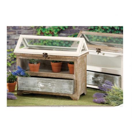 Piccola serra in legno mobiletto shabby con teca in vetro for Piccola casetta in legno