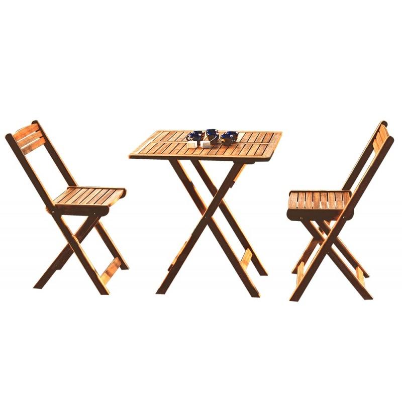 Tavolino da giardino in legno acacia con 2 sedie for Tavolo e sedie da balcone
