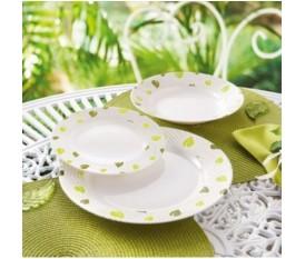 Servizio piatti 18 pezzi con foglie verdi - Luminarc Amely