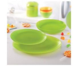 Servizio piatti 18 pezzi in vetro verde - Luminarc Arty Verde