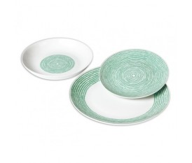 Servizio piatti 18 pezzi con cerchi concentrici verde - Onir