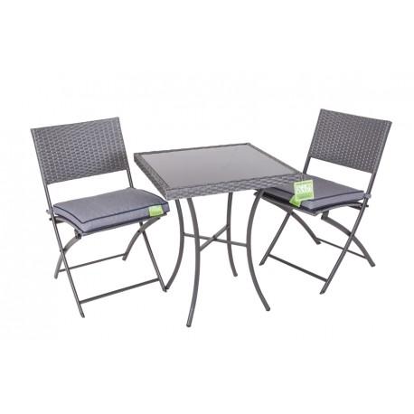 Tavolino Quadrato 60x60 Con Vetro Due Sedie Pieghevoli Brico Casa