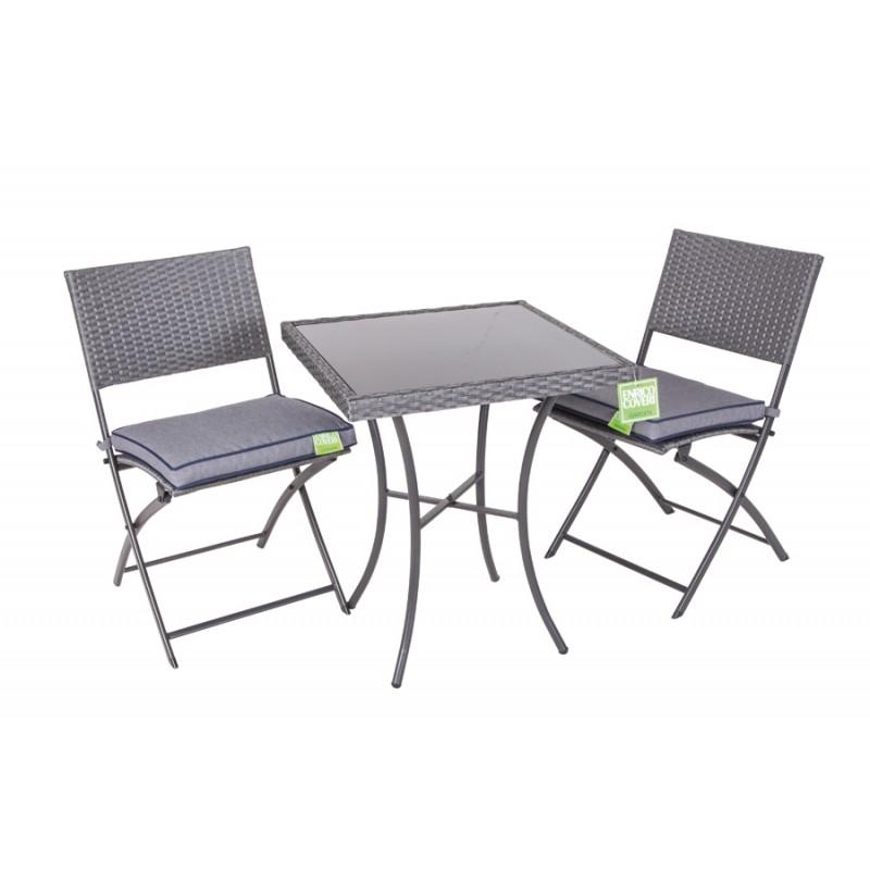 Tavolino quadrato 60x60 con vetro due sedie pieghevoli for Tavolino terrazzo
