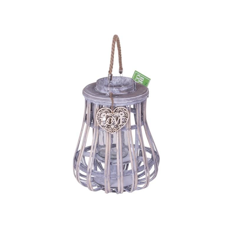 Lanterna da giardino in legno grigia 34 cm brico casa for Offerte articoli da giardino