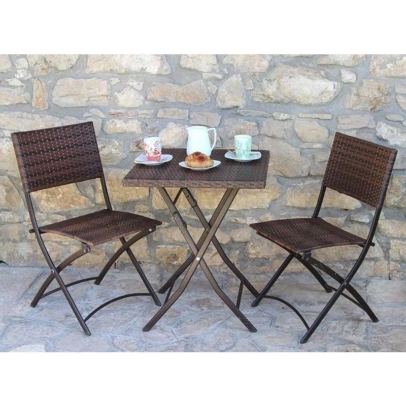 Tavolo da giardino in polirattan 2 sedie pieghevoli - Sedie pieghevoli da giardino ...