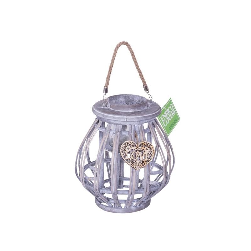 Lanterna da giardino in legno bombata grigia 34 cm brico for Lanterne da arredo