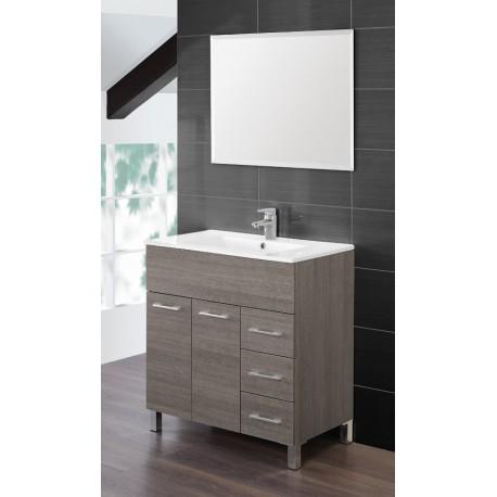Mobile bagno completo - 80 cm - lavabo ceramica - specchio - rovere ...