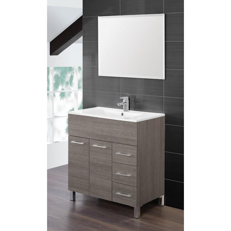 mobile bagno 80 cm lavabo ceramica specchio rovere