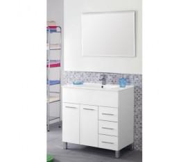 Mobile bagno - 80 cm - lavabo ceramica - specchio - bianco - Feridras