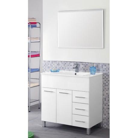 Mobile bagno - 80 cm - lavabo ceramica - specchio - bianco ...