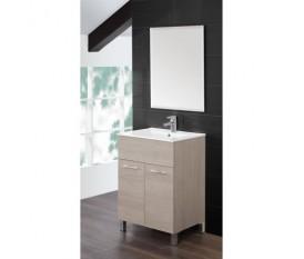 Mobile bagno - 60 cm - lavabo ceramica - specchio - rovere chiaro - Feridras