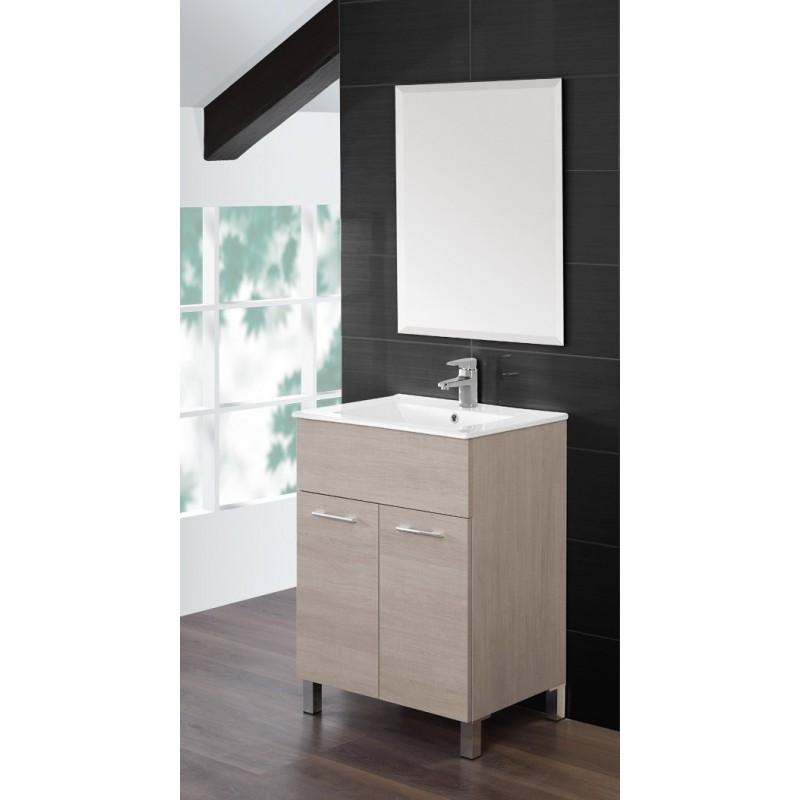 Mobile bagno 60 cm lavabo ceramica specchio rovere chiaro feridras brico casa - Mobile bagno profondita 40 ...