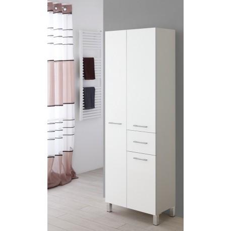 Mobile bagno a doppia colonna portasciugamani bianco legno for Colonna mobile bagno