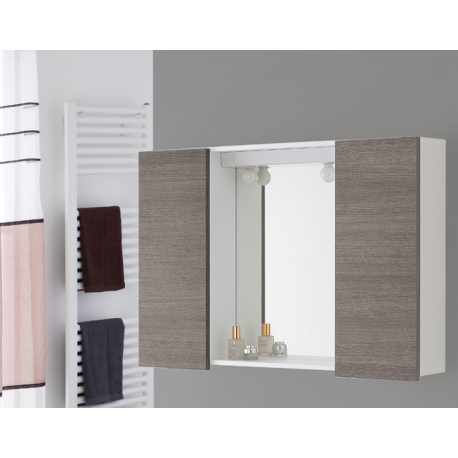 mobile specchio bagno 90 cm moderno legno rovere biancoForSpecchio Bagno Brico