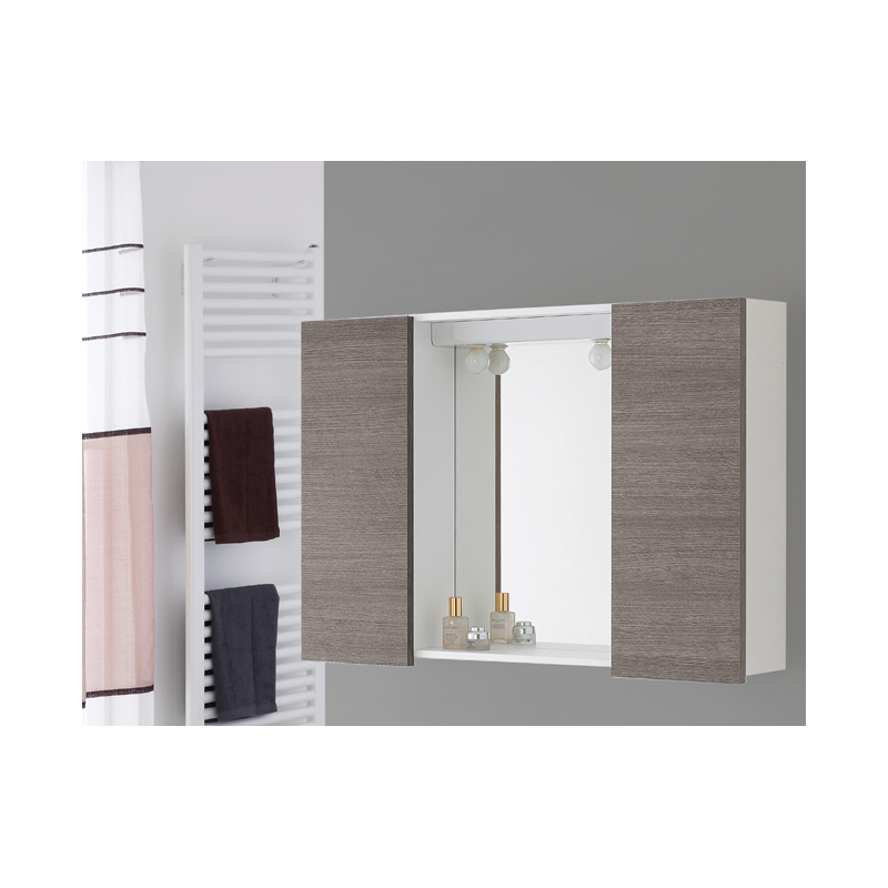 Mobile specchio bagno 90 cm moderno legno rovere bianco - Mobile a specchio per bagno ...